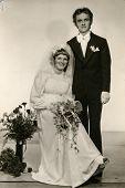 SIERADZ, POLAND, JUNE 25, 1976 - vintage photo of newlyweds