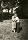 SIERADZ, POLAND - CIRCA FIFTIES: vintage photo of couple outdoor