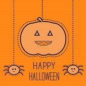 Hanging Pumpkin And Two Spiders. Dash Line. Happy Halloween Card. Flat Design.