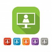 Color set of flat video chat icon