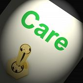 Care Switch Shows Caring Careful Or Concern