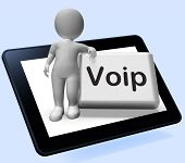 Voip Button Tablet With Character  Means Voice Over Internet Protocol