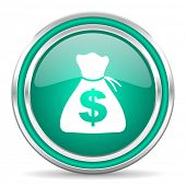 money green glossy web icon