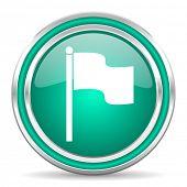 flag green glossy web icon