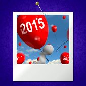 Two Thousand Fifteen On Balloons Photo Shows Year 2015