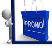 Promo Shopping Sign Shows Discount Reduction Or Save