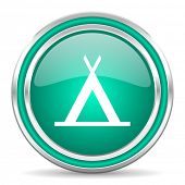 camp green glossy web icon