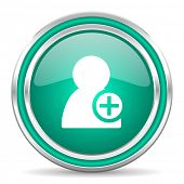 add contact green glossy web icon
