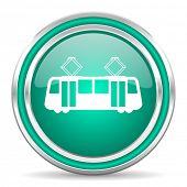 tram green glossy web icon