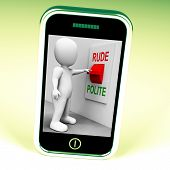 stock photo of polite  - Rude Polite Switch Meaning Good Bad Manners - JPG