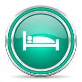 hotel green glossy web icon