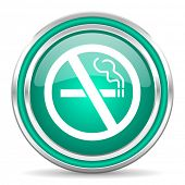 no smoking green glossy web icon