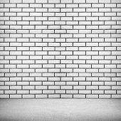 interior with white brick wall