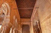Alhambra Courtyard Arches Corridor Moorish Wall Designs Granada Andalusia Spain