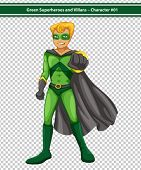 Illustration of a male superhero with cape