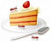 Illustration of a piece of cakes with ants