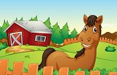 Illustration of a horse in a farm