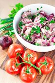 Fresh Raw Marinating Meat For Barbecue Or Kebab. Russian Shashlik.