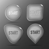 Start. Glass buttons. Raster illustration.