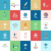 Big set of Design color icons. Design Icon of People, Eco, Organic, Natural, Green, Ecological Products, Technologies.