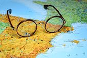 Glasses on a map of europe - Madrid