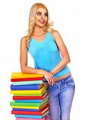 Student with stack book . Isolated.