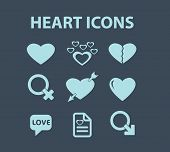 heart icons set, vector