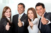 Business Group With Thumbs-up