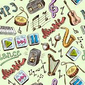 picture of g clef  - Music mp3 doodles seamless pattern with piano play pause color icons vector illustration - JPG