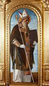 ZAGREB, CROATIA - DECEMBER 12: Giovanni Bellini: Saint Benedict, exhibited at the Great Masters renesnse in Croatia, opened December 12, 2011. in Zagreb, Croatia