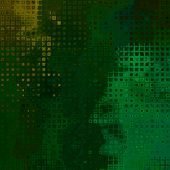 art abstract colorful pixels and halftone pattern background in green and gold colors