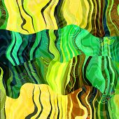 art abstract colorful chaotic waves pattern background with green, blue, yellow, black and brown col