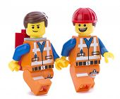 Ankara, Turkey - March 15, 2014:Two Lego movie minifigure characters Emmet isolated on white backgro