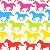 Seamless pattern with hand drawn silhouette rainbow horses.