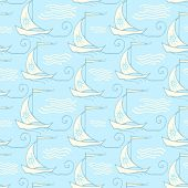 Seamless pattern with decorative retro sailing ships on waves