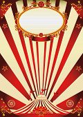 circus vintage red and cream poster. A vintage circus poster with red sunbeams for your advertising