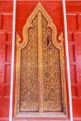 Antique Door At Thai Temple