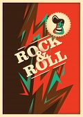 Illustrated rock and roll poster with abstraction. Vector illustration.