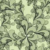 Abstract doodle seamless pattern on olive background