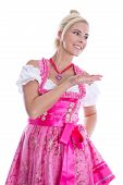 Bavarian Woman - Isolated In Bavarian Dress Presenting And Making Promotion.