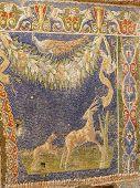 Multi-colored wall mosaic of animals at Herculaneum, Italy