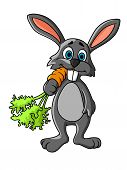 Funny Cartoon Grey Rabbit Eating A Fresh Carrot