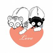picture with adoring beautiful lemurs sitting on a heart on a white background
