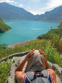 pic of luzon  - A tourist soaks in the astonishing view of the famous Pinatubo crater in Luzon - JPG