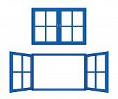 blue window frame