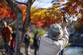 Tourists photograph fall foliage in Kyoto, Japan