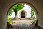 stock photo of church interior  - Medieval fortified church in town Prejmer, Romania.