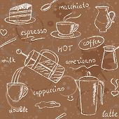 Seamless pattern with hand drawn coffee items