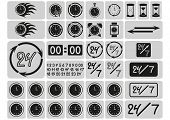 Black clocks icons in the gray squares