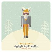 2015 happy new year. Card with sheep hipster in flat design. Christmas vector illustration